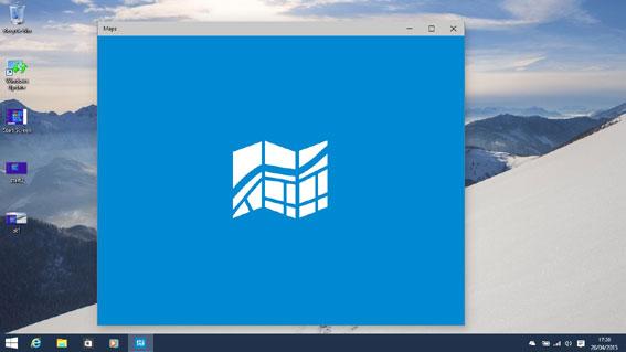 Apps display on the desktop
