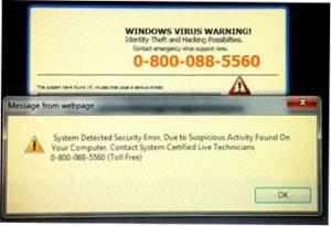 A screen shot of an actual fake warning