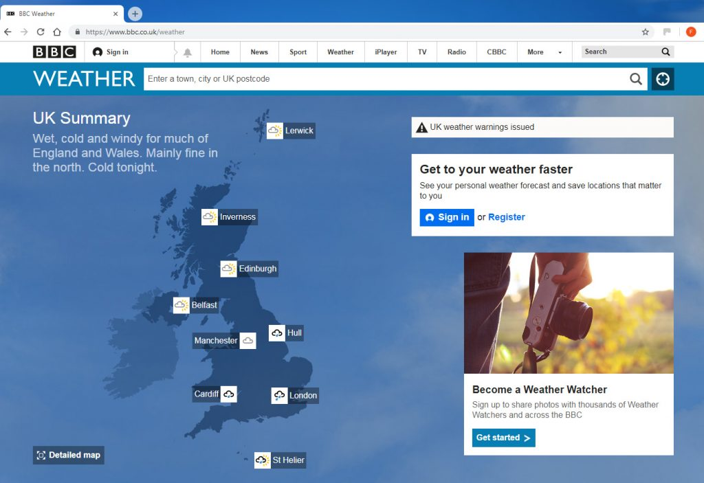 The-Computer-Cookie-BBC-Weather page